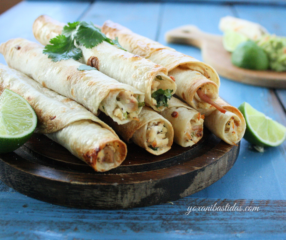 Cilantro Lime Baked Chicken Taquitos